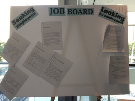 Job board at ATLA where employers could post job ads, and job-seekers could post their resumes. Photo by Anne Marie Lyons