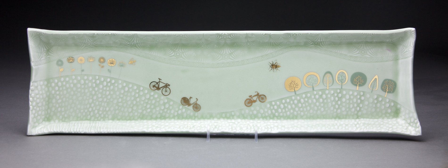 7x22 in. light sage glaze with gold decals