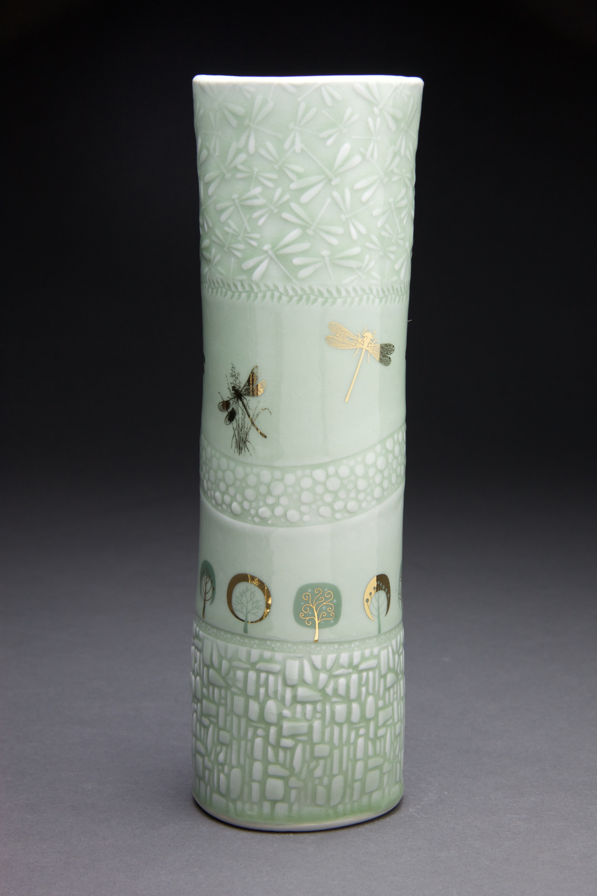 5x5x13 in vase. Light sage glaze with gold decals