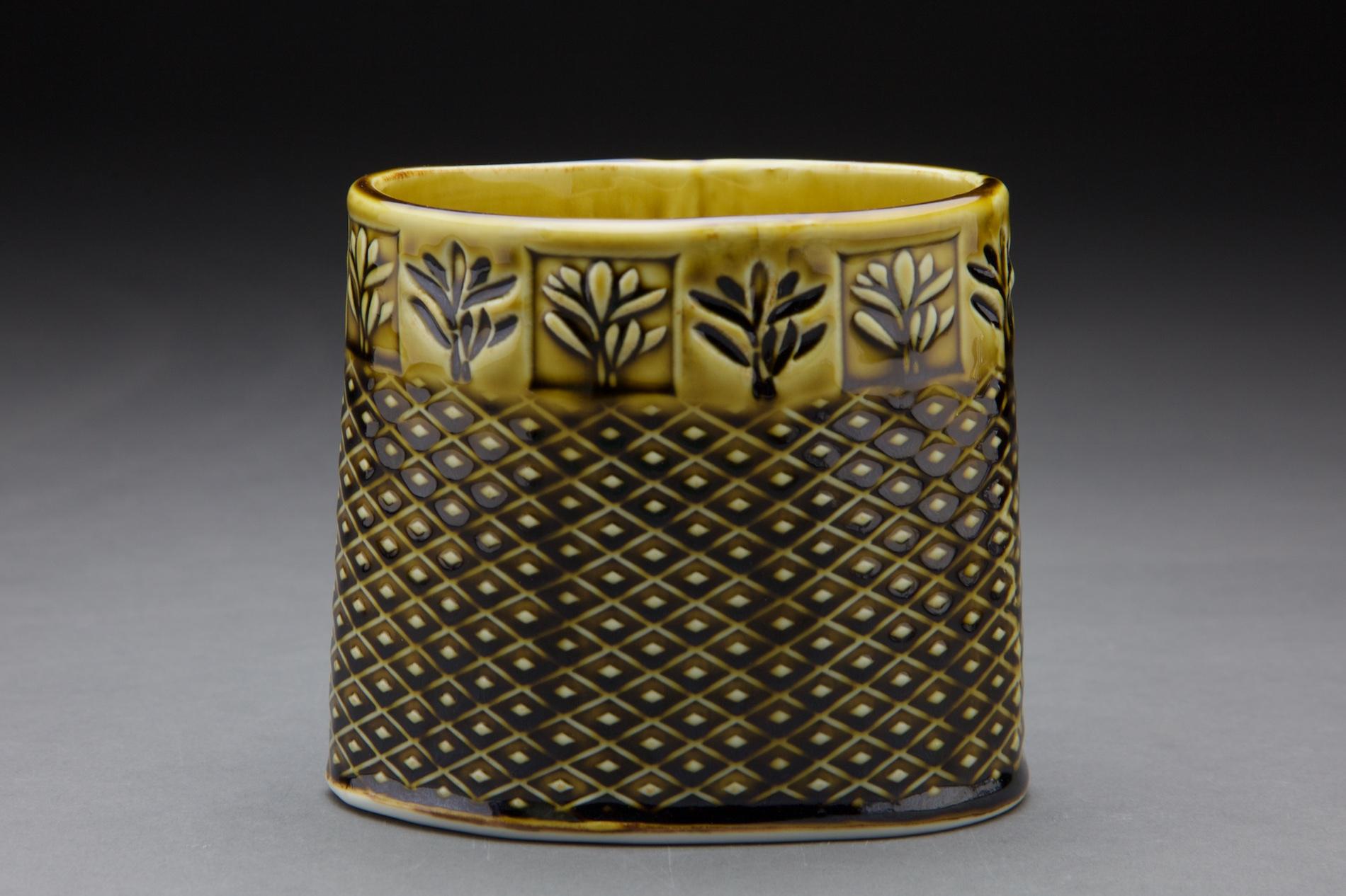 5x5x3 in vessel amber celadon glaze