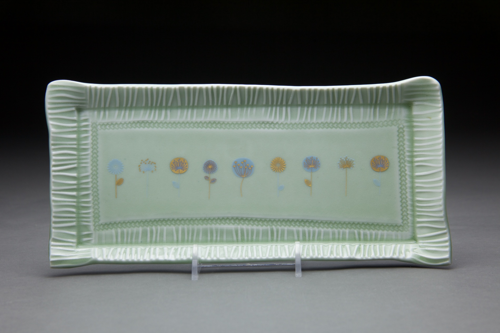 4x10 in light sage glaze. with gold decals