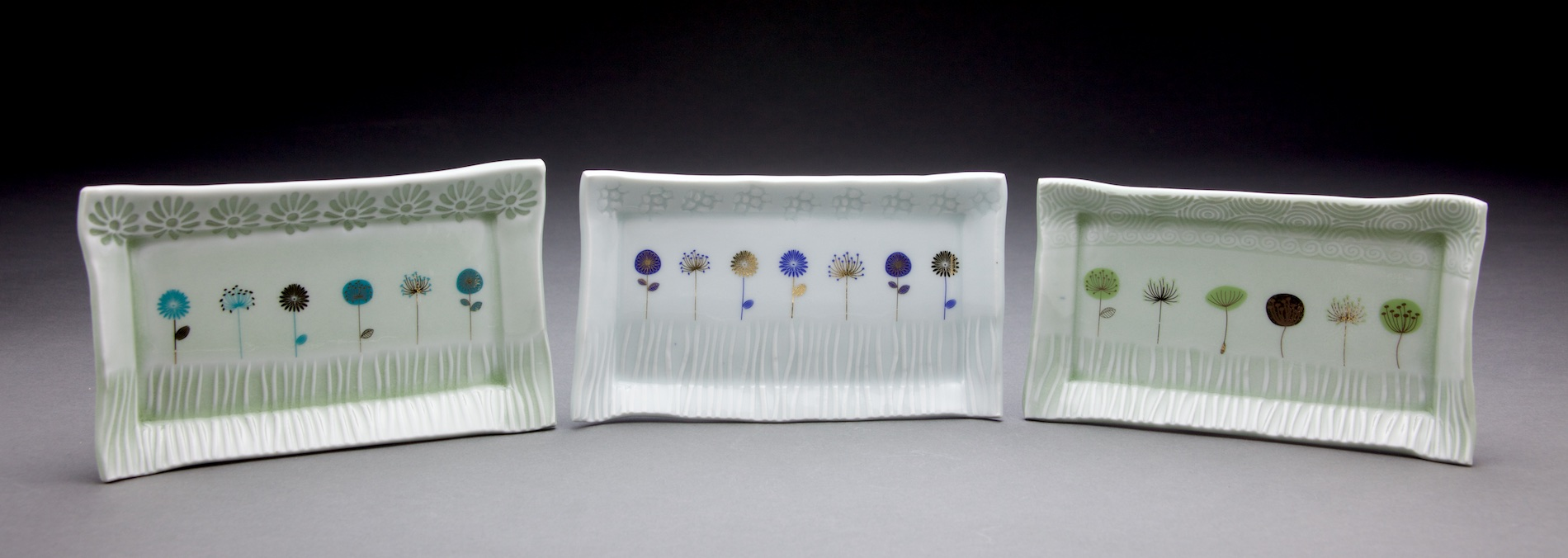 Each tray is 3x6in with either light sage or clear glaze & gold decals