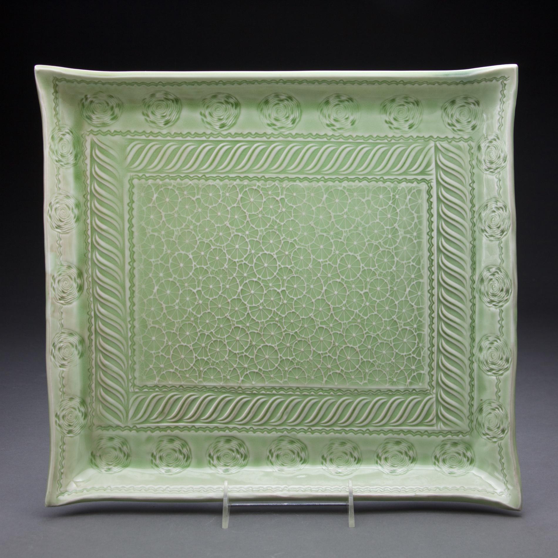 14x14 in. apple green celadon