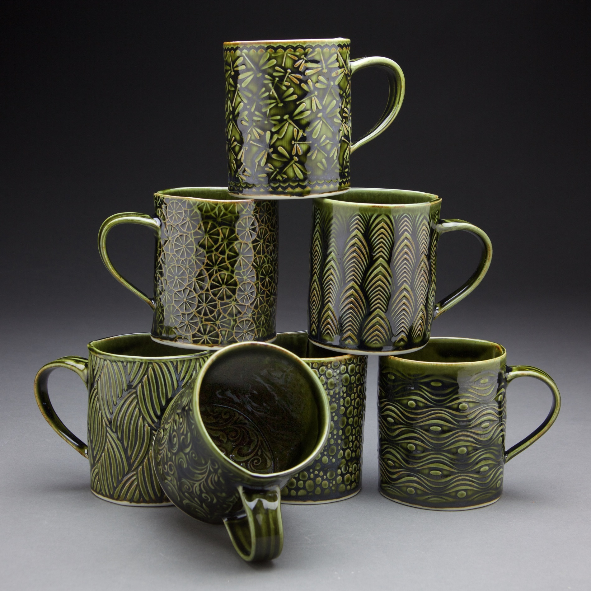 16 oz. mugs 3.5x3.5x4 in. Forest Green glaze