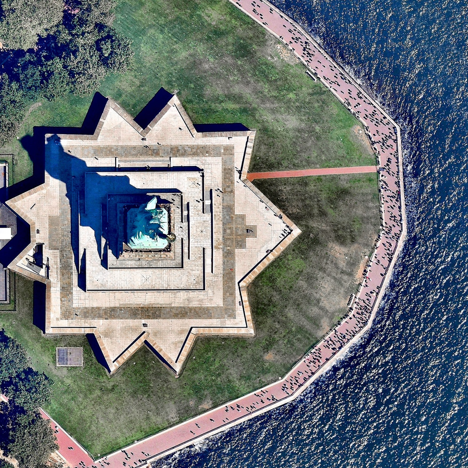 A shot of the Statue of Liberty from the DailyOverview