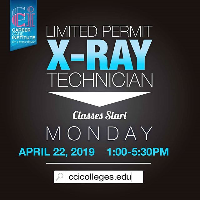Join our Limited Permit X-Ray Tech program at our Moreno Valley Campus! 👉Classes start APRIL 22, 2019👈 ✨ ENROLLING NOW ✨ . . Please visit our website for more information--- https://www.ccicolleges.edu/admissions-requirements/ or call us at (951) 977-4255- Moreno Valley Campus . . #vocationalschool #vocationalnursing #vocationaltraining #nursingschool #nursingstudent #nursingstudents #lancaster #santaclaritavalley #santaclarita #scv #ventura #venturacounty #oxnard #palmdale #palmdaleca #oxnard #oxnardca #antelopevalley #antelopvalleylife #lancaster #lancasterca #medicalfield #medicalschool #medicalstudent #AVnursesrock