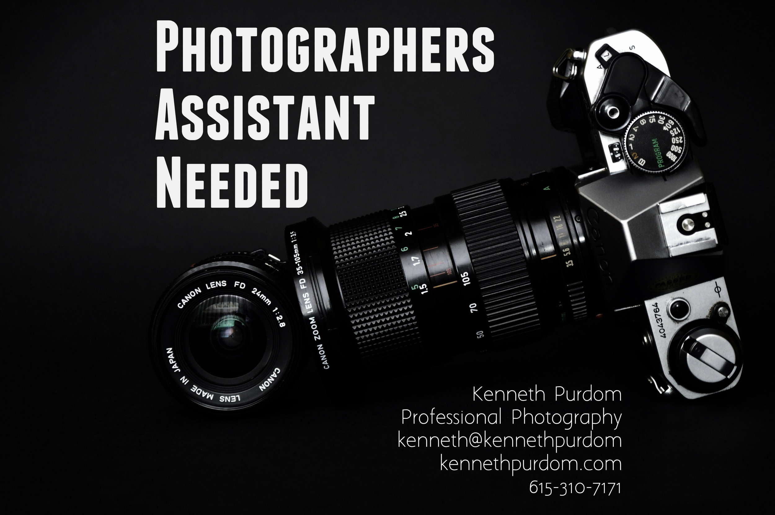 Assistant Photographer Needed