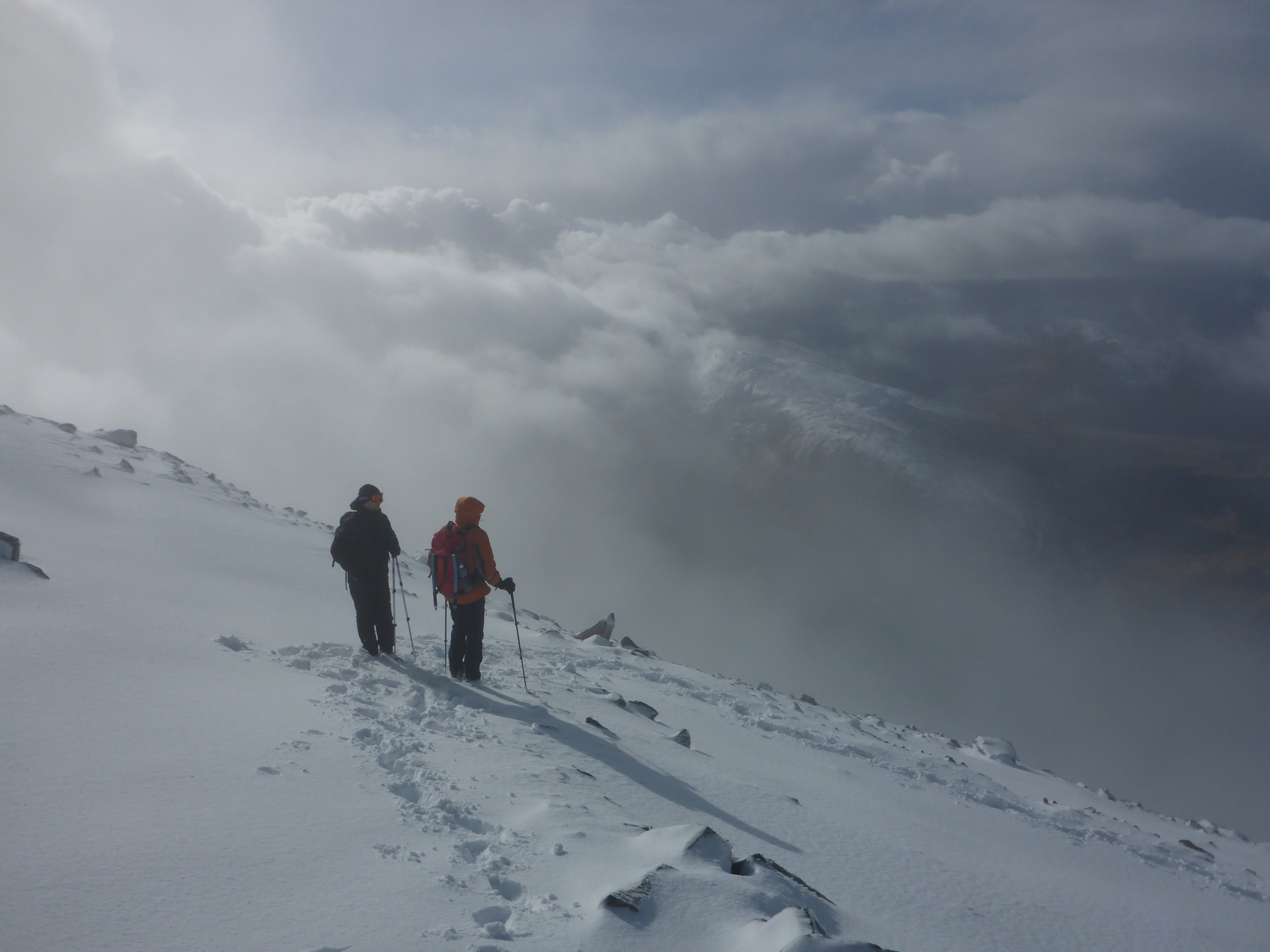 Deep snow on the upper slopes of Ben Nevis.