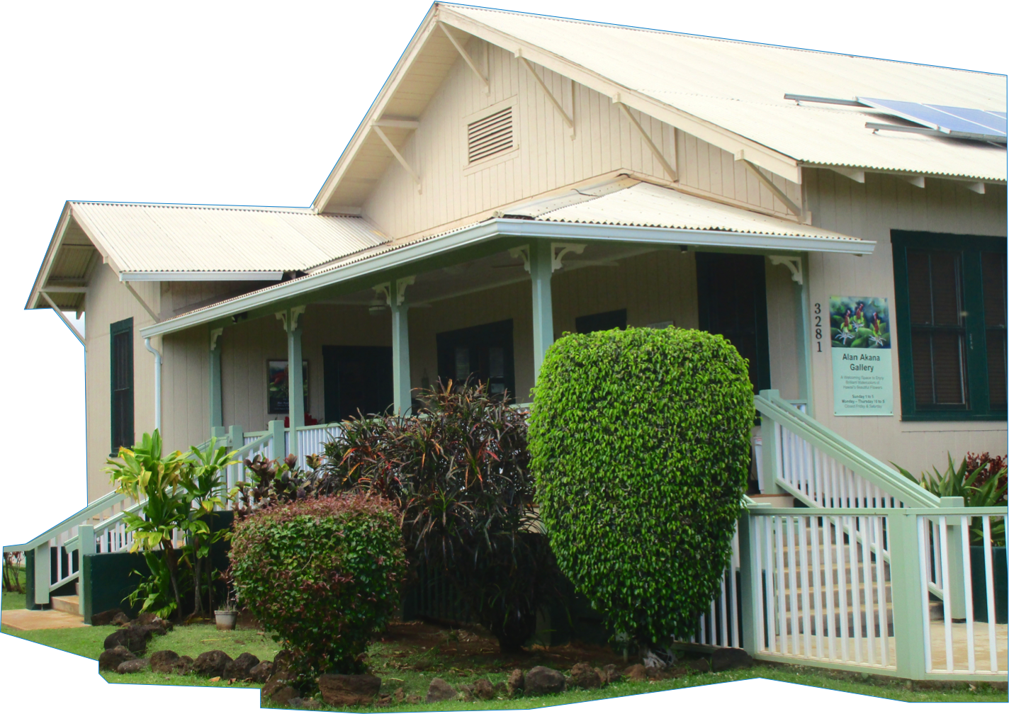Alan Akana Gallery is located in the historic Smith Memorial Parsonage at 3281 Waikomo Road, Koloa HI.