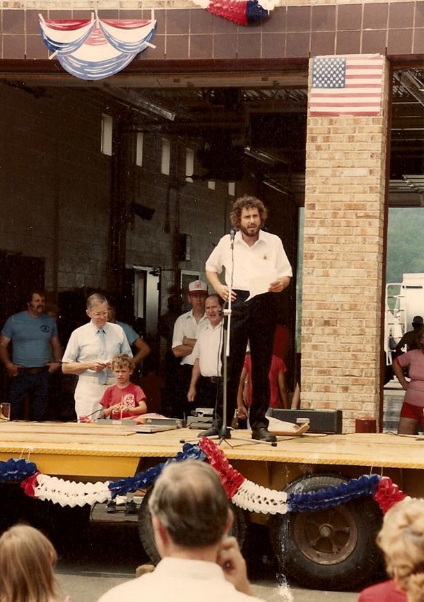 Ken Vogel speaking at the Station One Dedication Ceremony July 16, 1983