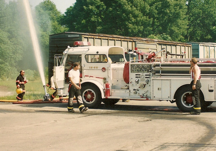 Our1962 Mack shown here at a drill with East Brunswick where we purchased the truck.