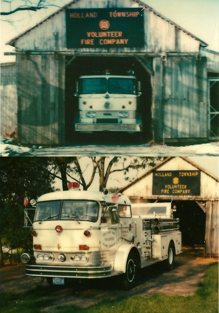 Our first trucks were stored in a shed on Bill Larson's farm before they went into service.