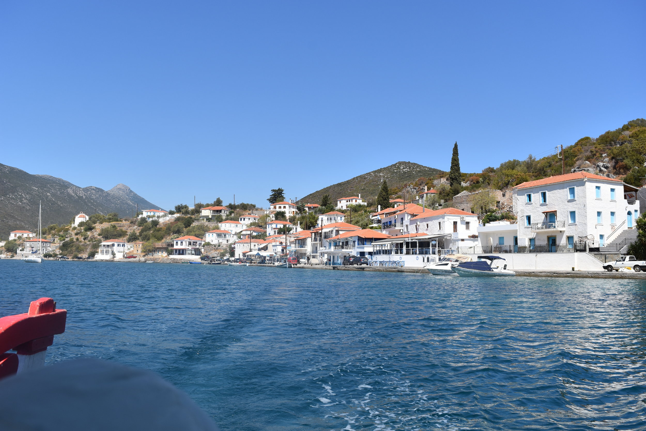 Limani Gerakas, as we are leaving the village by boat