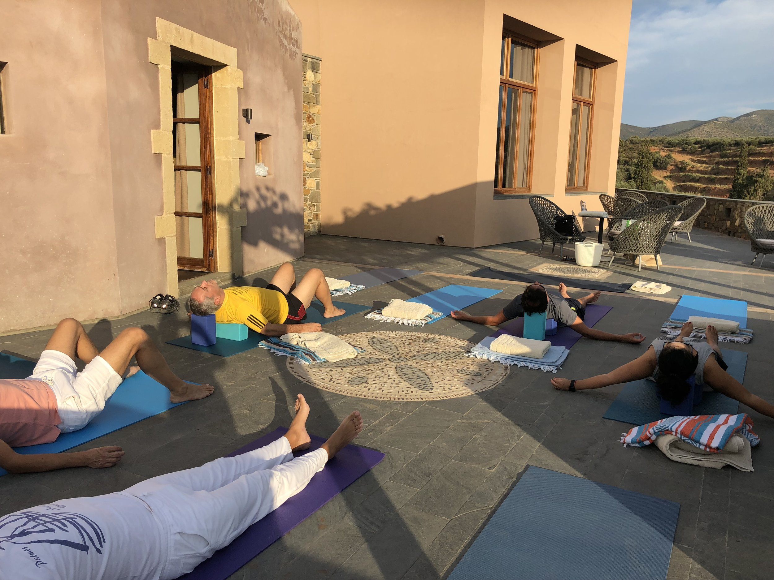 Restorative Yoga on the veranda at Kinsterna Hotel