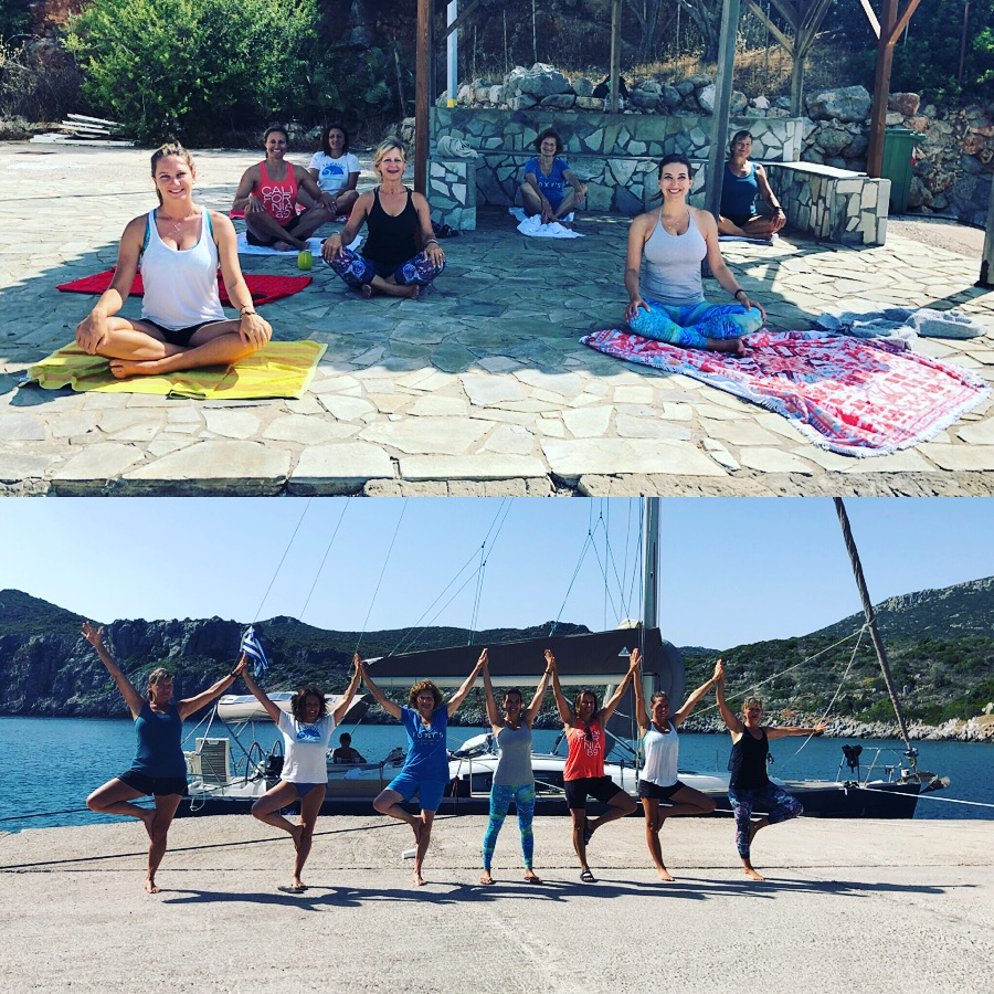 Yoga for a sailing group at Limani, Geraka