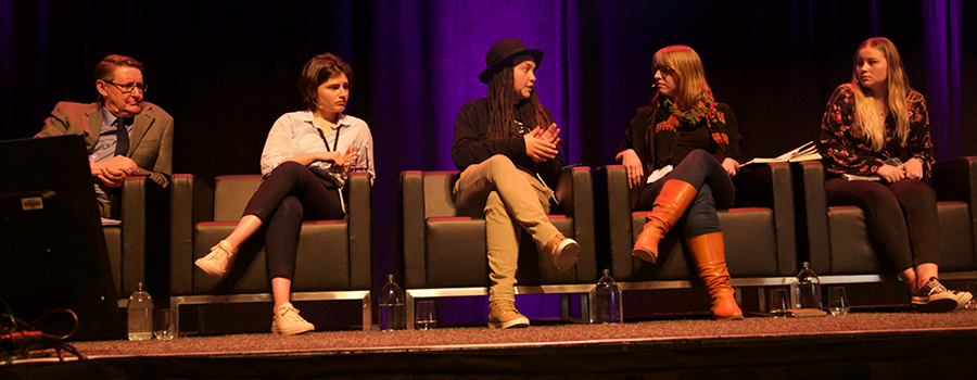 Left to right: Malcolm Alexander, Chlöe Swarbrick, Laura O'Connell Rapira, Emily Beausoleil, and Dannielle Hammond.