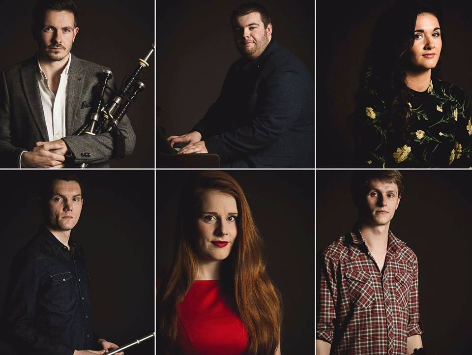 The BBC Young Traditional Musician of the Year Finalists, as photographed by Martin Forry.  David Shedden, Rory Matheson, Amy Papriansky, Ali Levack, Hannah Rarity and Luc McNally.