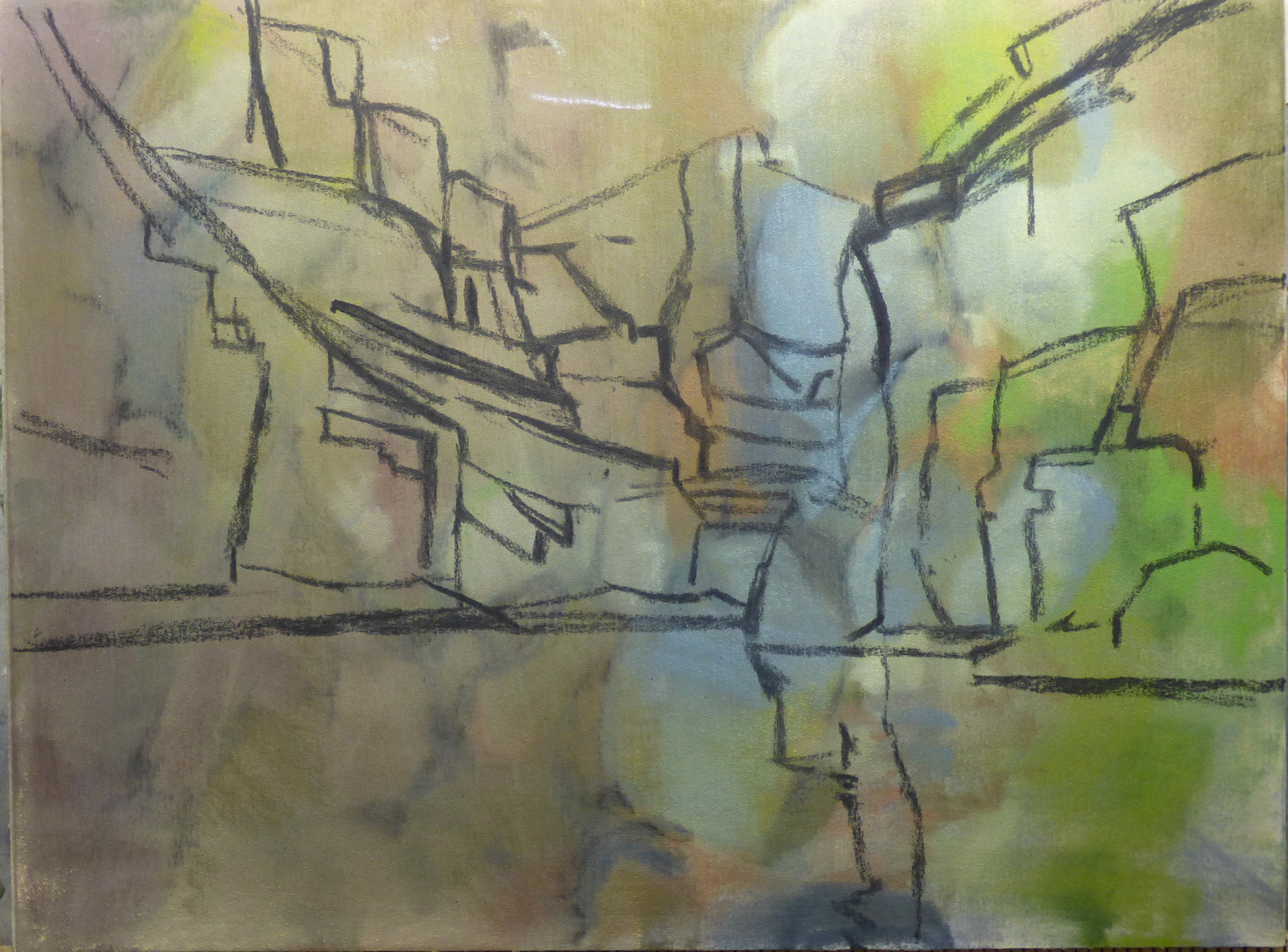 Using a recycled 9 x 12 piece of Uart sanded pastel paper I draw in the major shapes with charcoal.