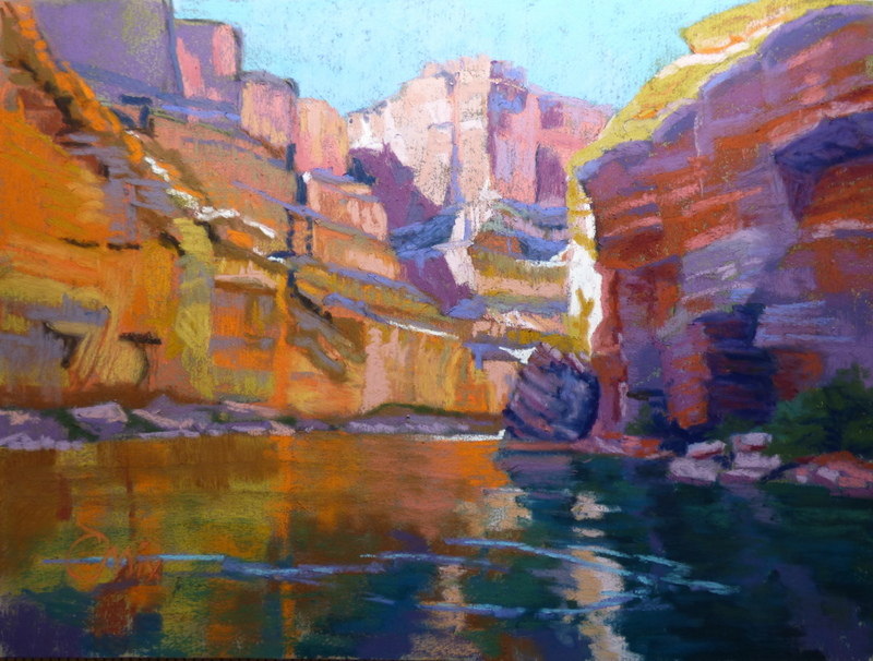 I hope this image allows you to feel the heat pulsing off the rock cliffs as well as the cool green river - incredible drifting silence.