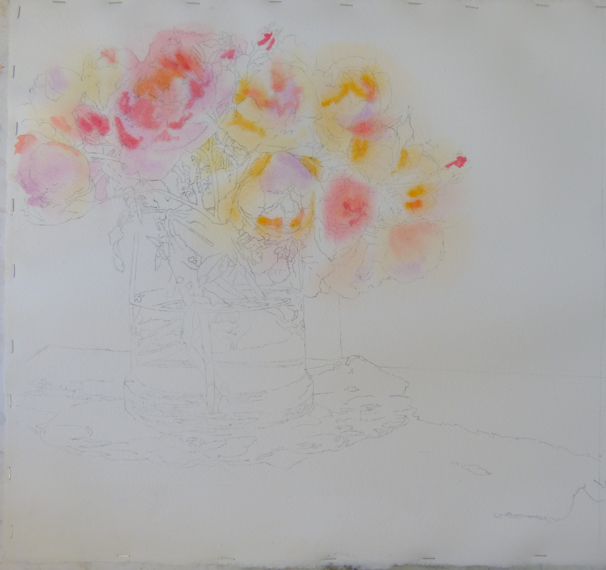 While the paper was wet I dropped in oranges, golds, and pinks into the rose blooms.