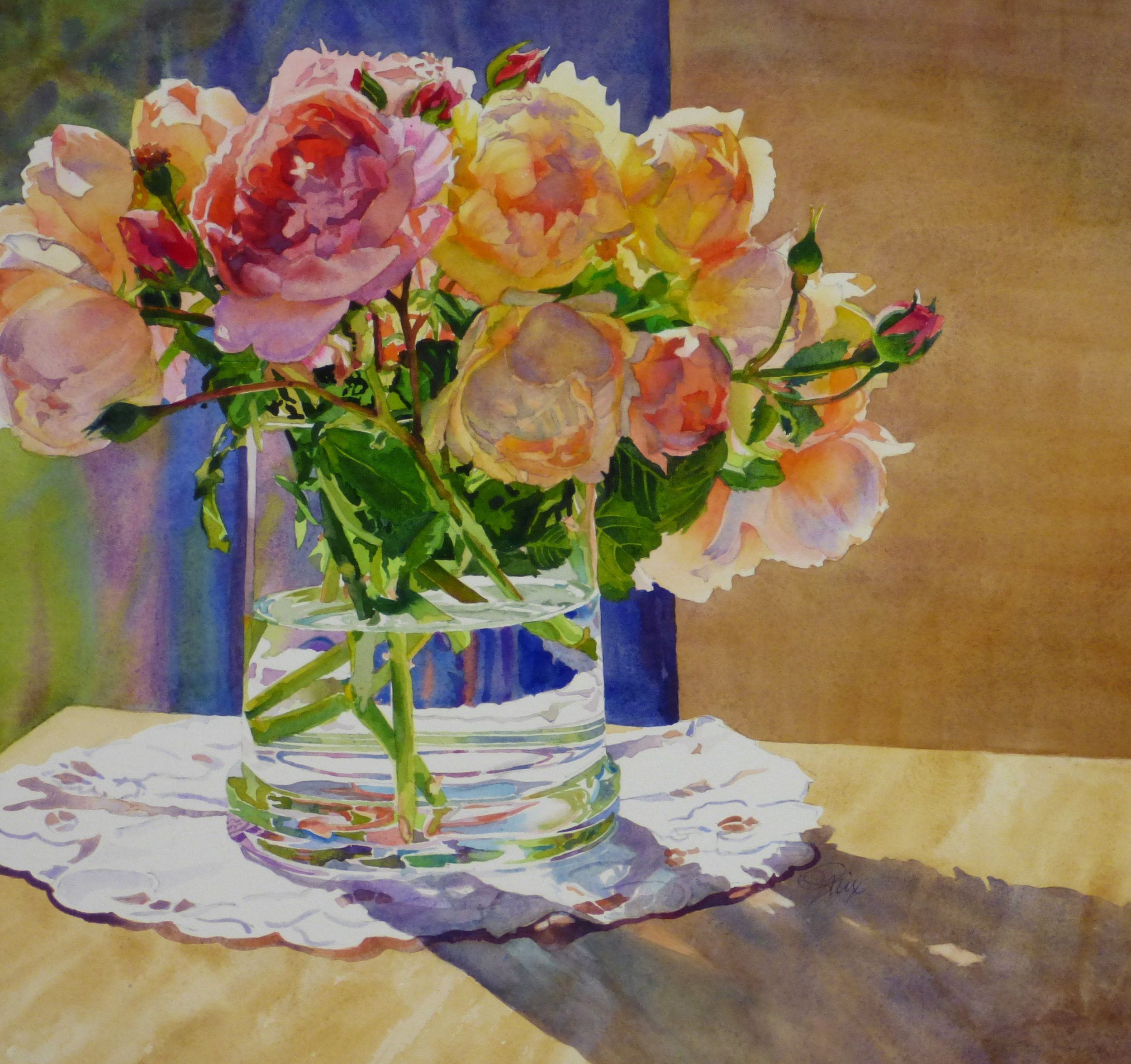 Finally, to increase the contrast with the roses, I darkened the backgrounds, and laid in the darkest darks.