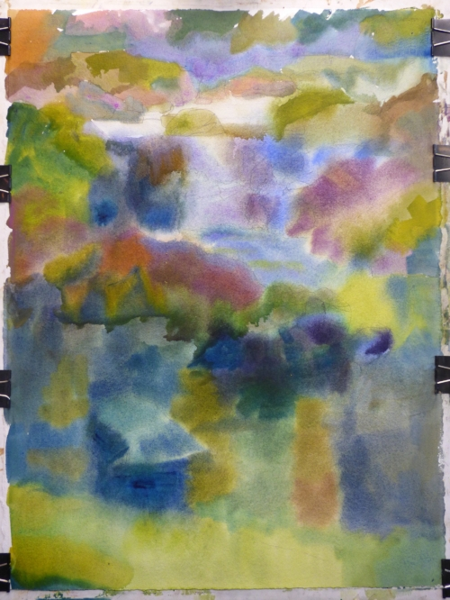 The watercolor underpainting is quickly applied on the wet paper with a large brush in a loose manner,  wet in wet washes of dark values and drab colors.