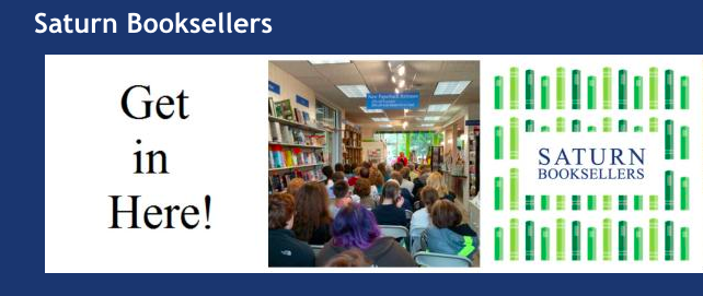 June 23, 11:30 a.m. - 1:30 p.m.  Saturn Books 127 W. Main St., Suite A, Gaylord, Michigan Joint signing with Kath Usitalo and Amy Eckert.  http://www.saturnbooksellers.com/