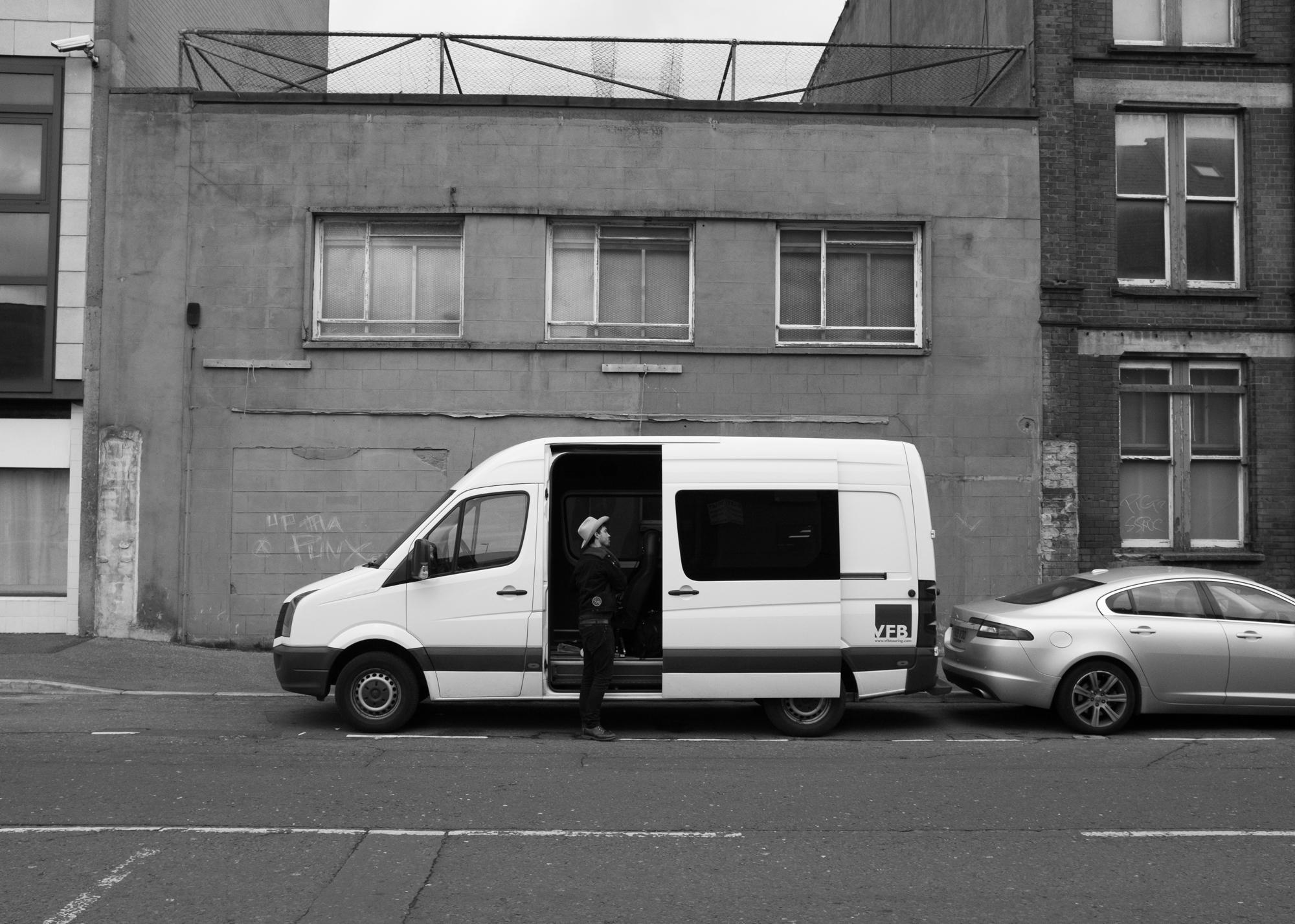 Jared arriving in Belfast.