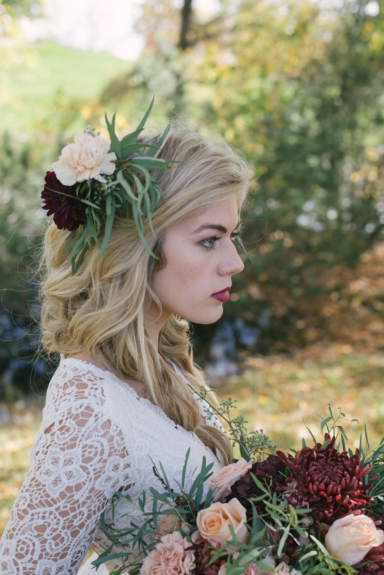 This  hair and makeup  was so stunning!! Wow! We loved it! Flowers in the brides hair is such a beautiful touch!