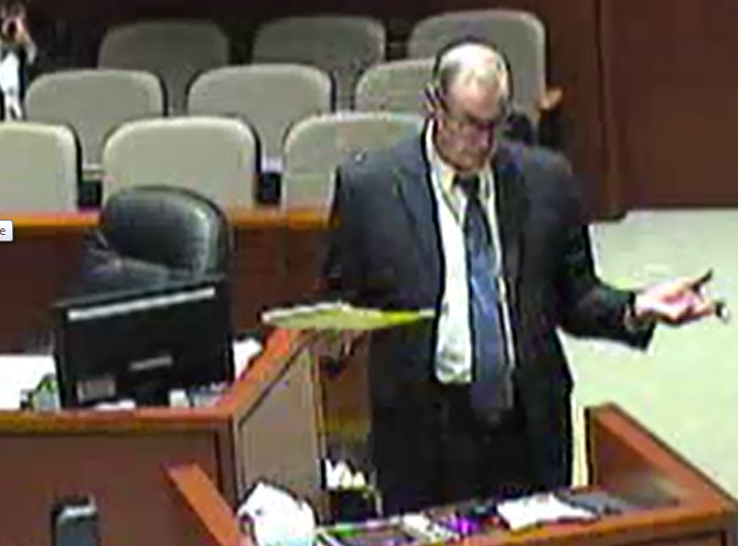 W. Randall Rock Attorney at Law arguing a case in front of a jury