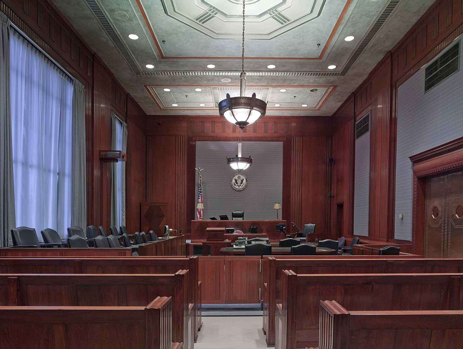 Courtroom where civil and criminal cases are tried