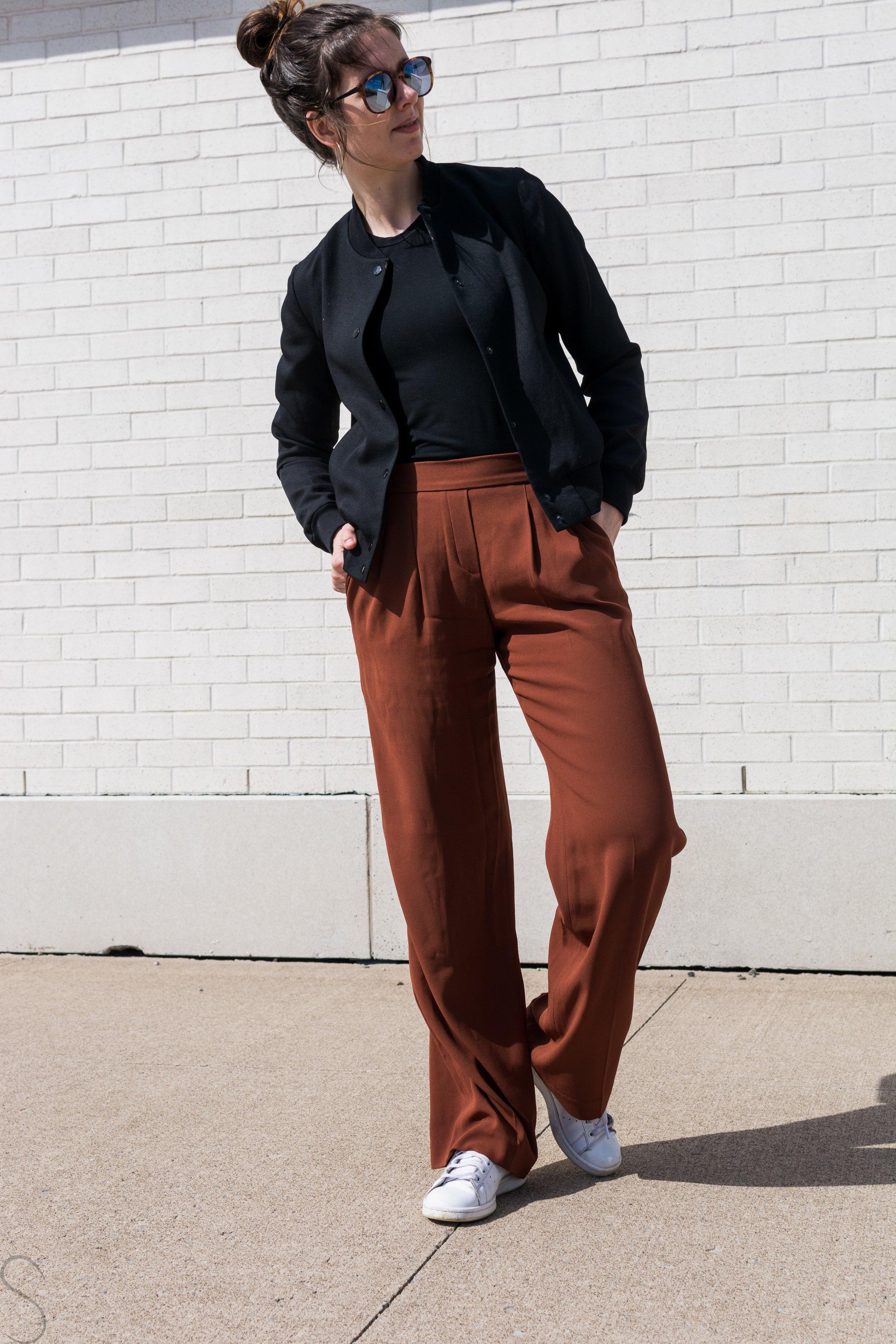 rust wide legged pants aritzia