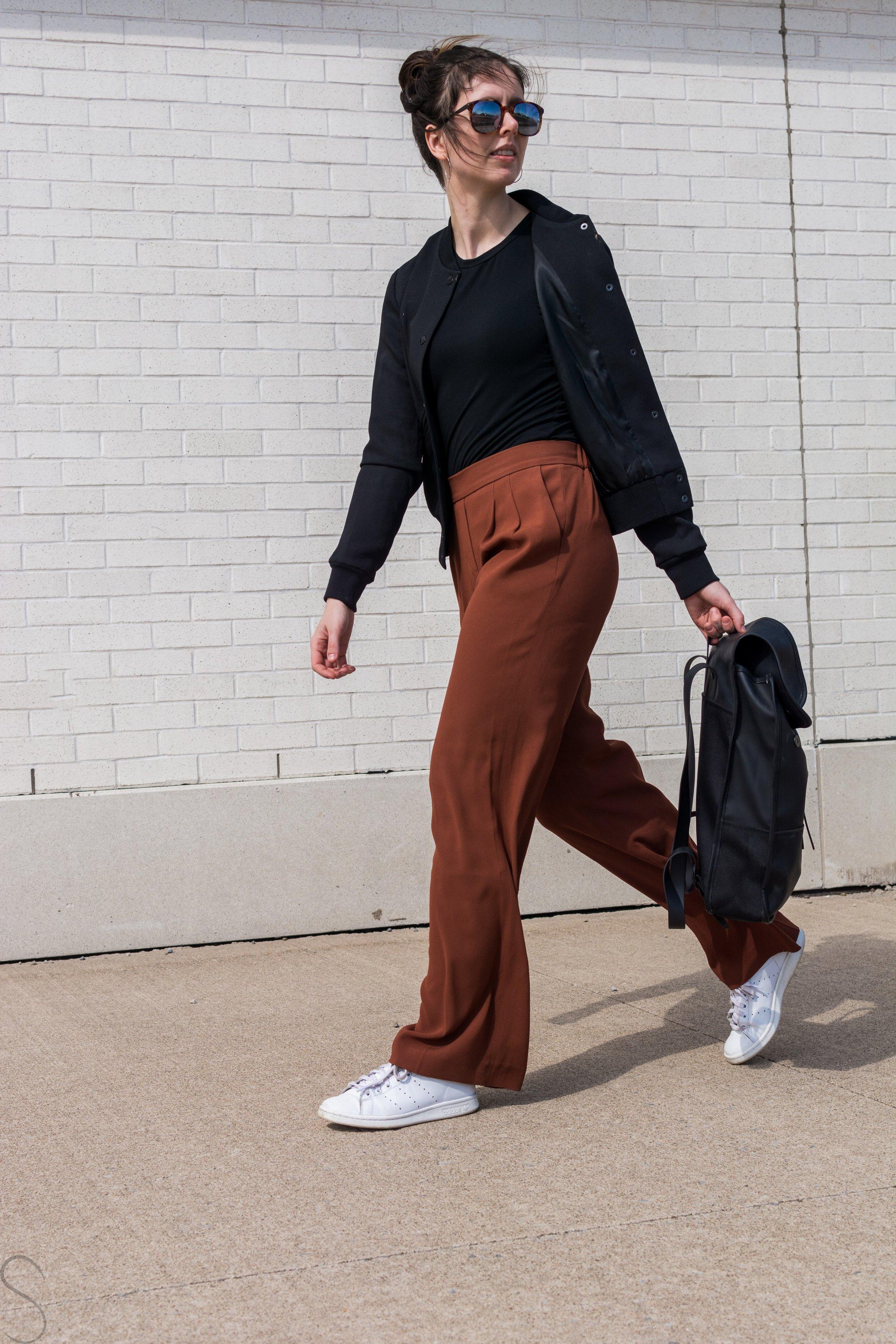 rust wide legged pants artizia rains commuter bag Wilfred poussin jacket Adidas Stan smiths
