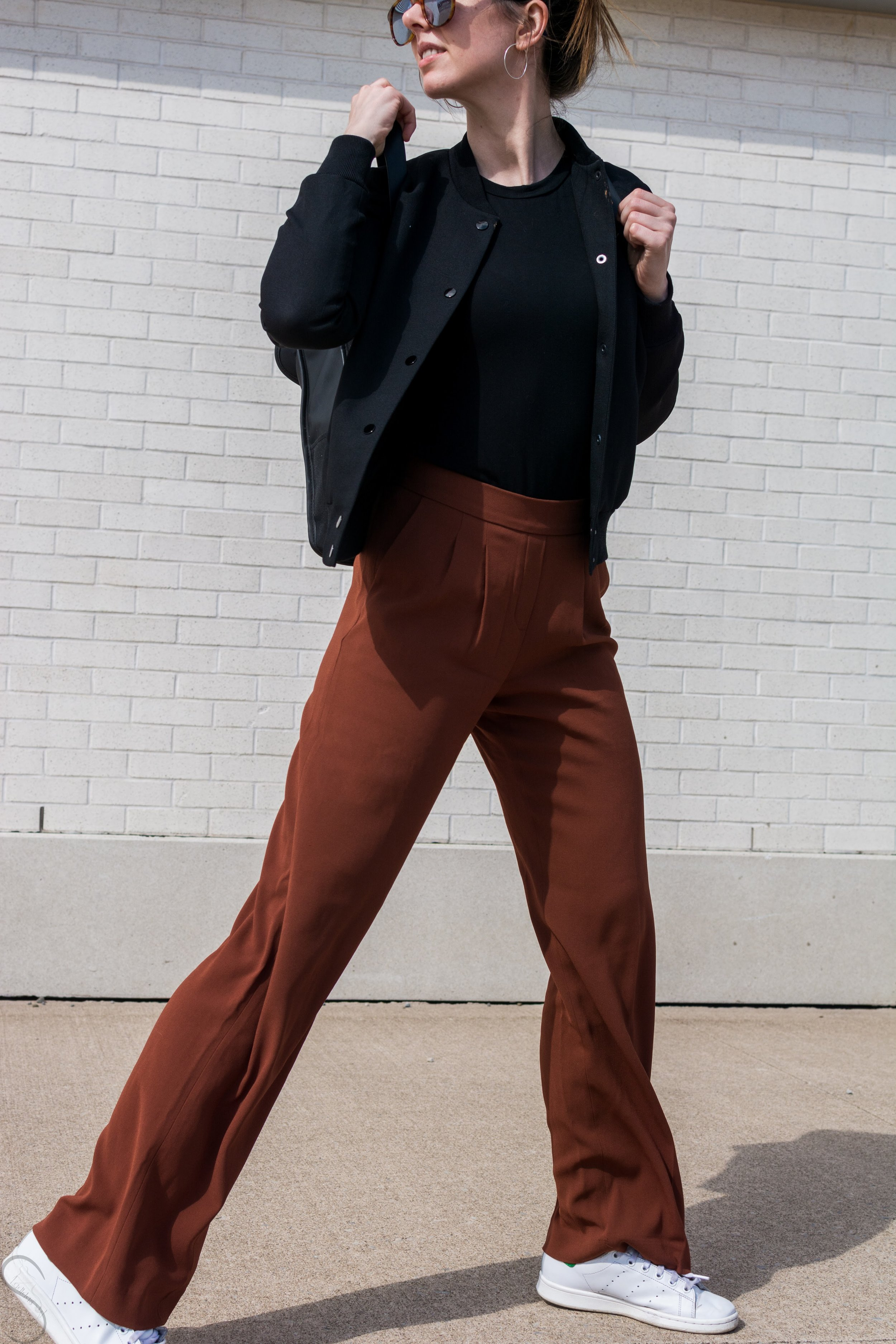 rust wide legged pants artizia rains commuter bag Wilfred poussin jacket