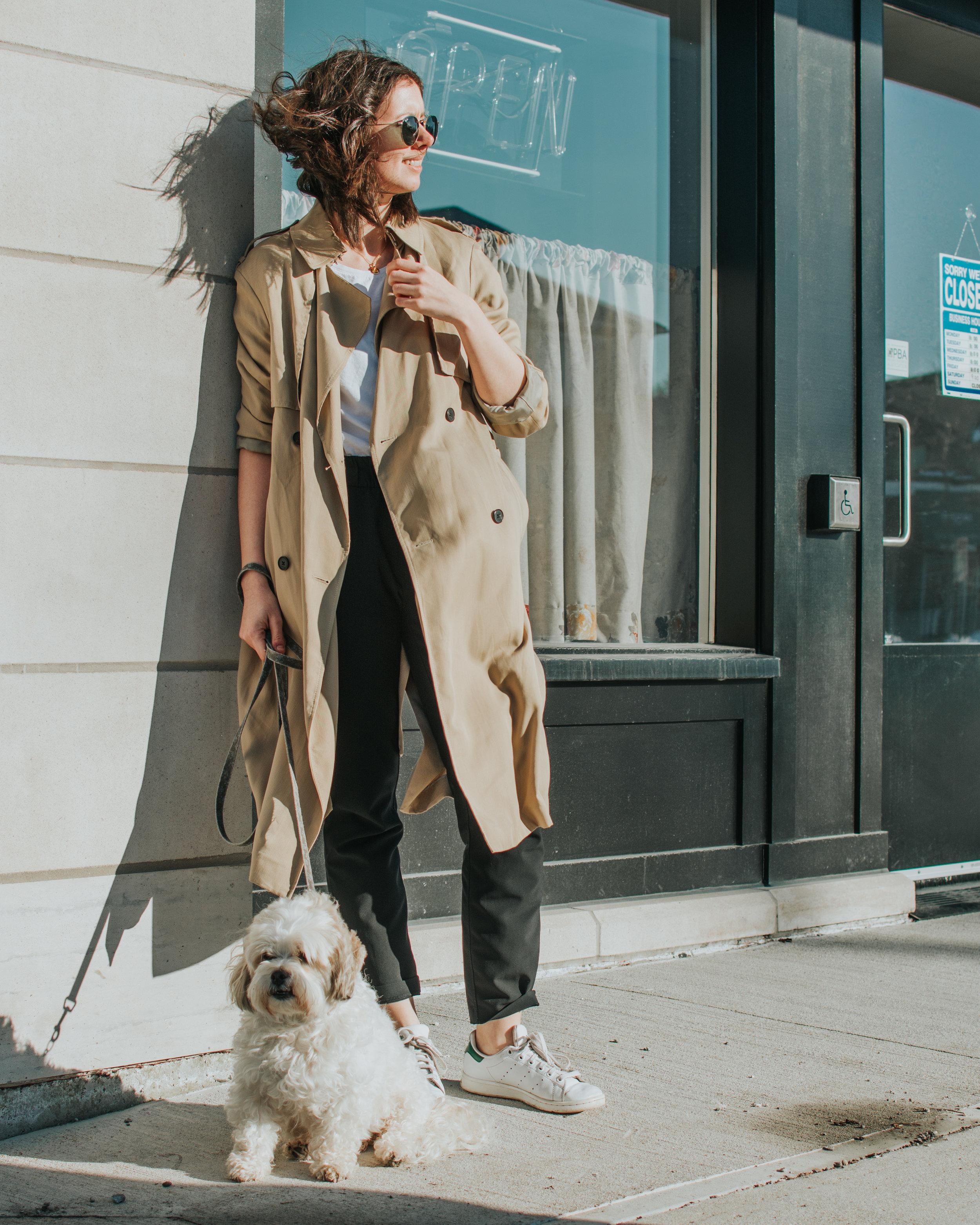 trench coat style - artizia- athleisure look - style apotheca