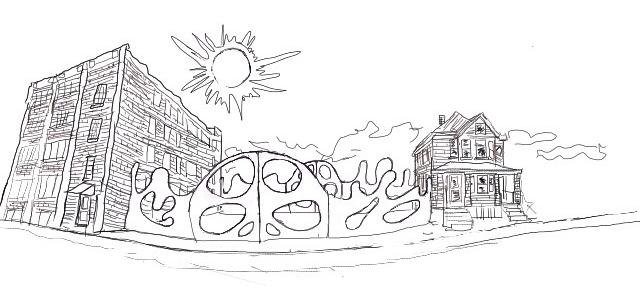 new artist residency in Detroit, Michigan sketch mockup
