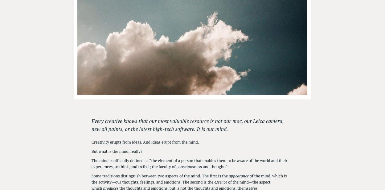 The Mind, Meditation, and Creativity