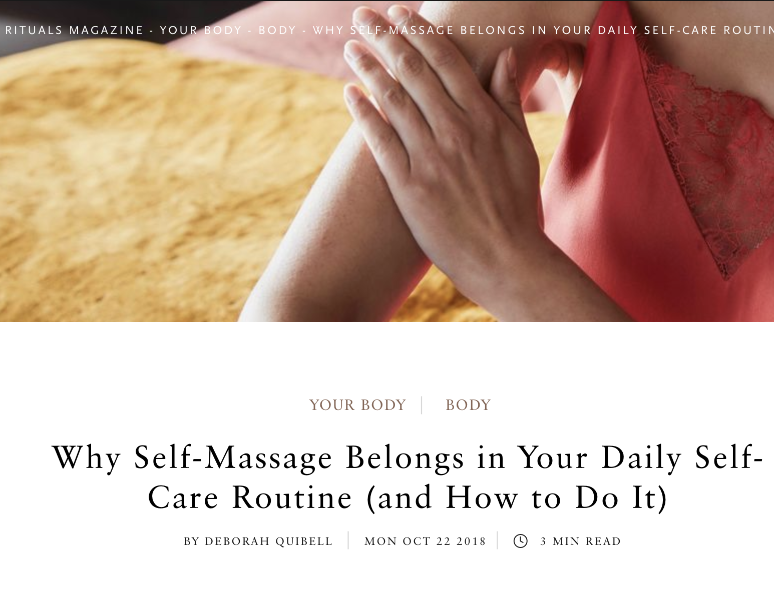 The Ritual of Self-Massage