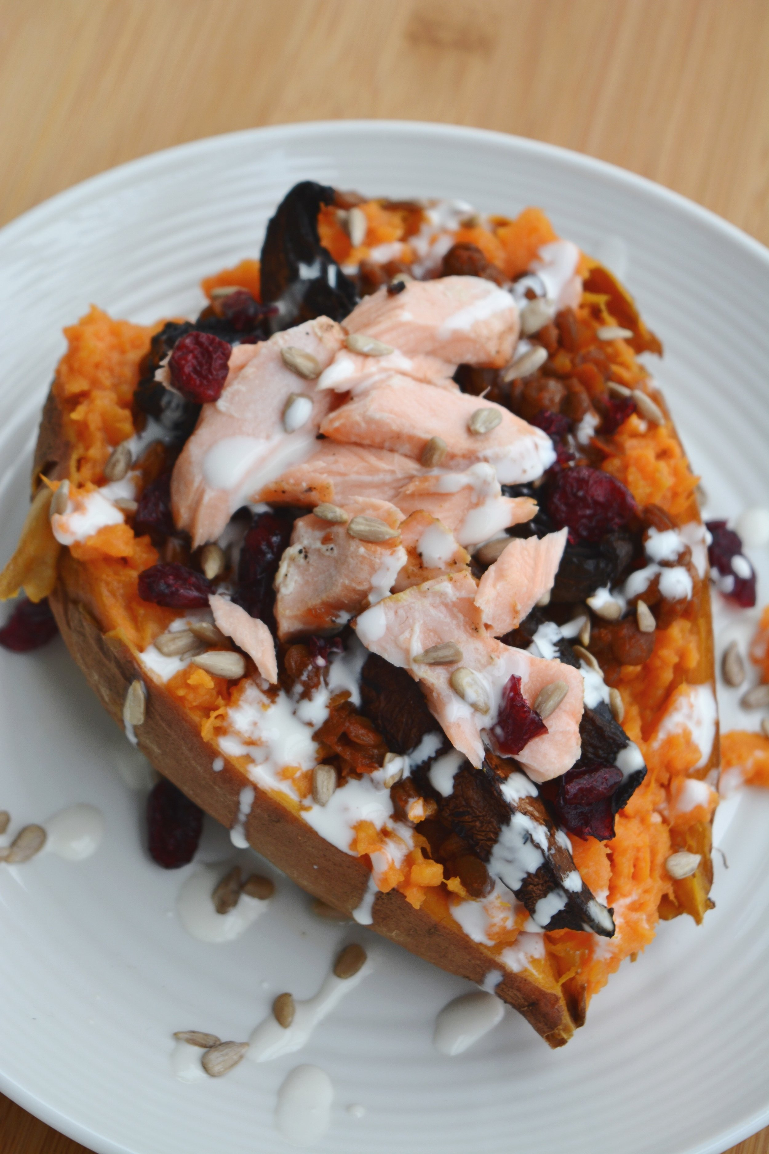 Loaded Salmon Sweet Potato