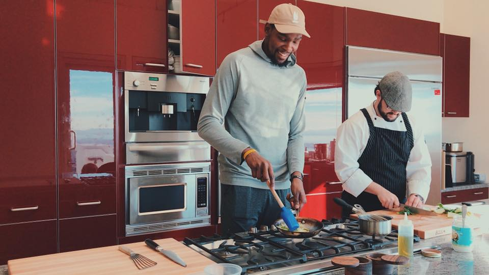 NBA Star Kevin Durant cooking with private Chef, Ryan Lopez