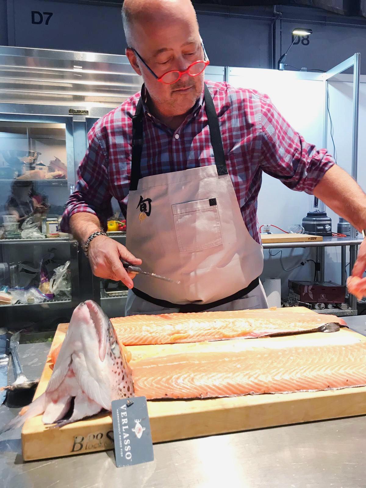 Andrew Zimmern fillets Verlasso Salmon