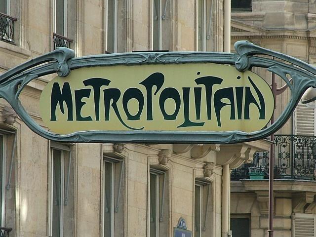 Hector Guimard's famous Funky Art Nouveau lettering for the Parisian Metro