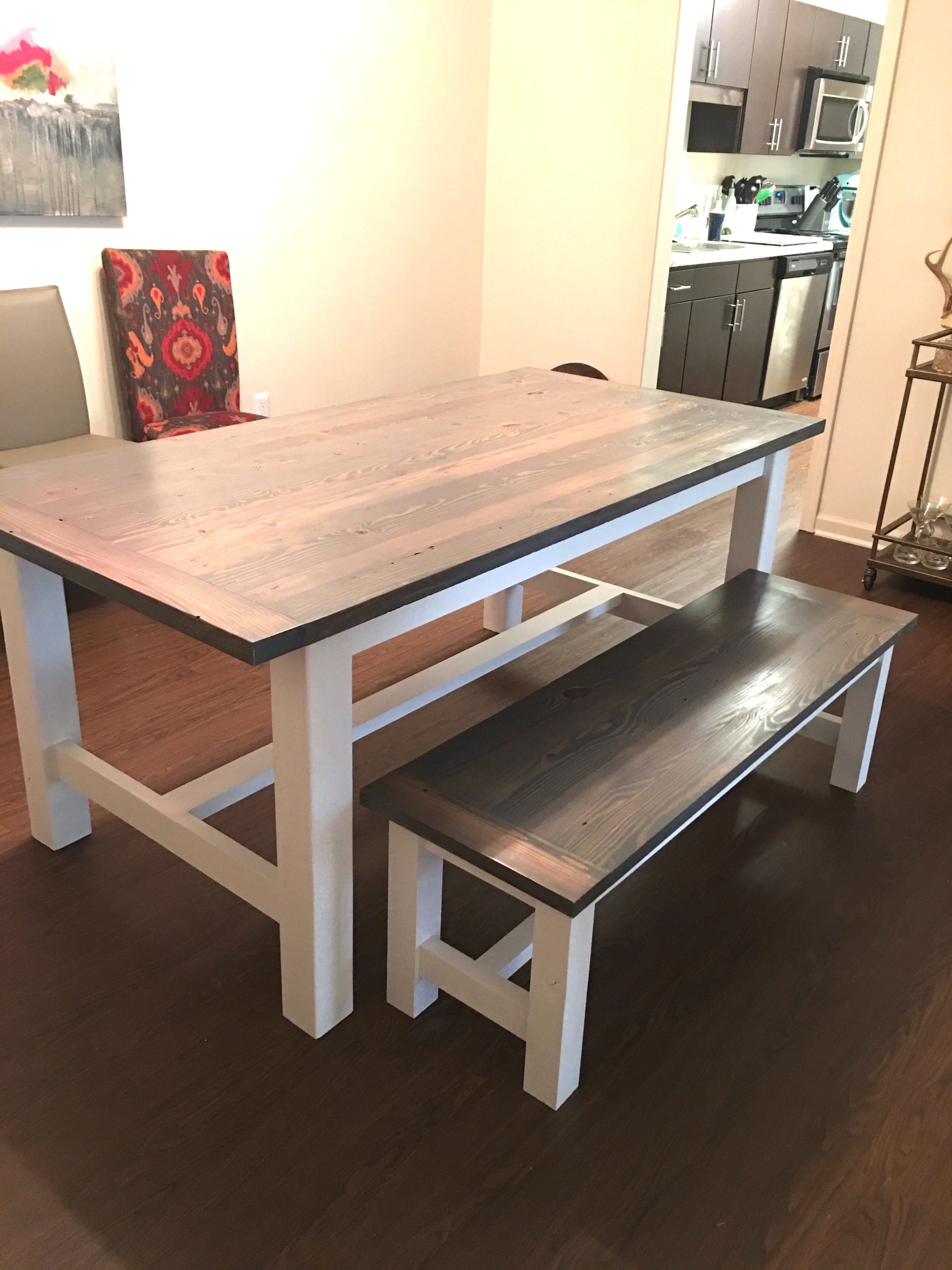 reclaimed white and gray dining table