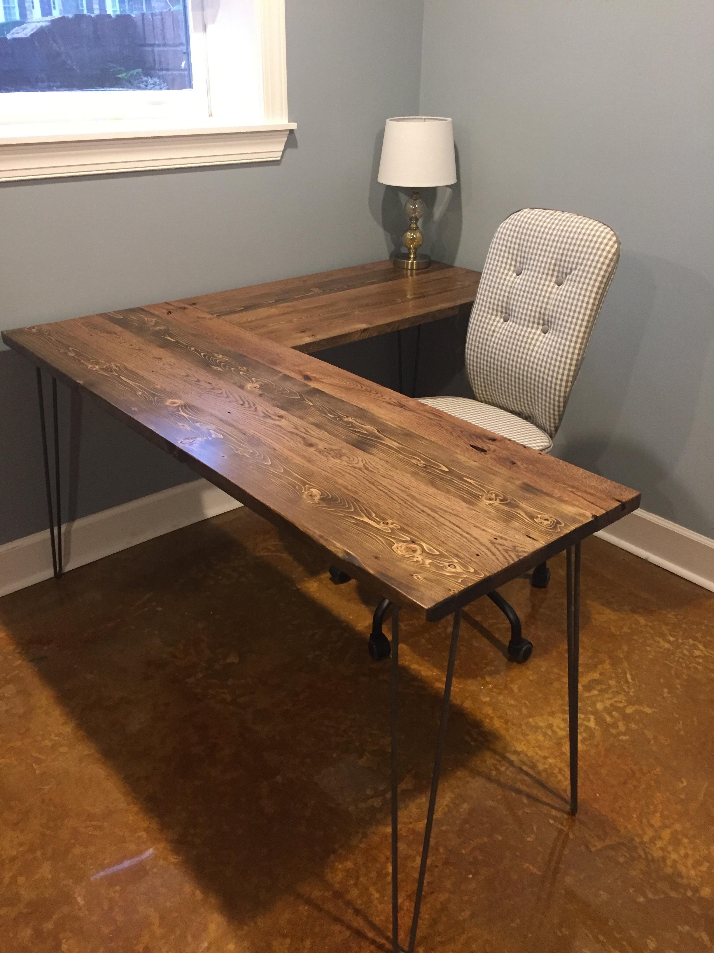 reclaimed pine/oak desk