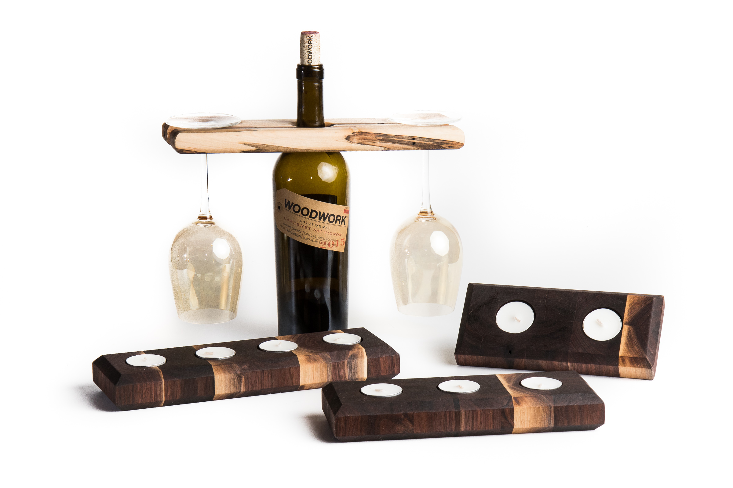 maple wine display and walnut votive holders