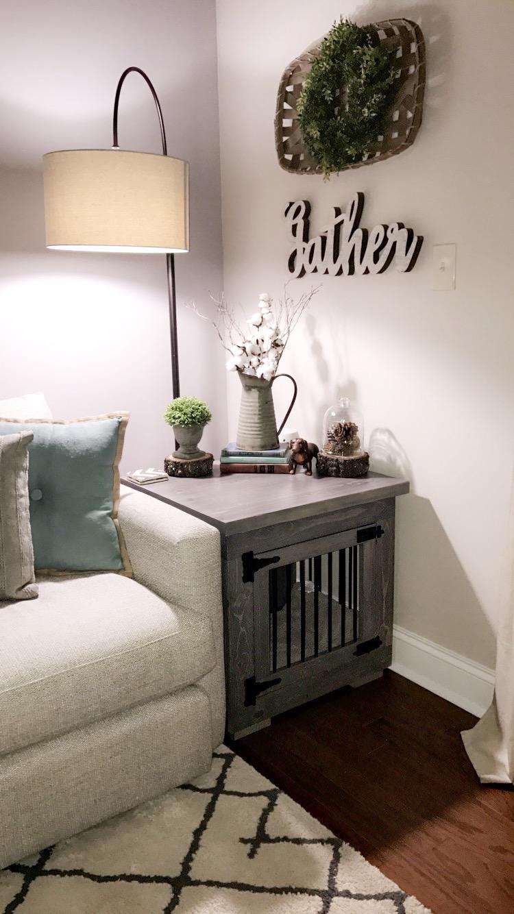 gray dog kennel