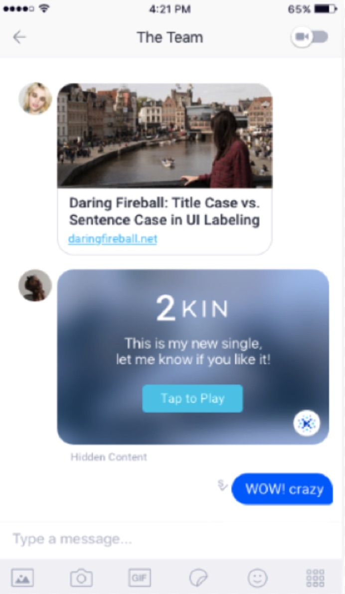 Kin, Kik's cryptocurrency, in action.