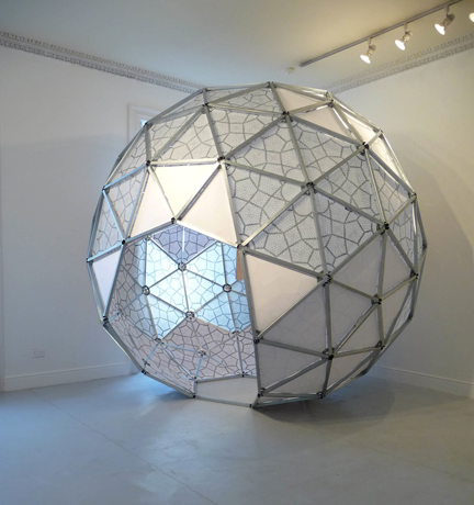 sociodesic:a space for the three great loves, 2010. Aluminum, mylar, paper, wood, pencil, screen-print.Galway Arts Center.