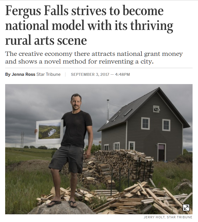 Star Tribune acknowledged the thriving arts scene in Fergus Falls.PNG
