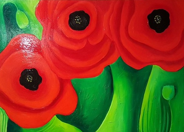 """Detail from """"Poppies"""" by Jenny Field"""